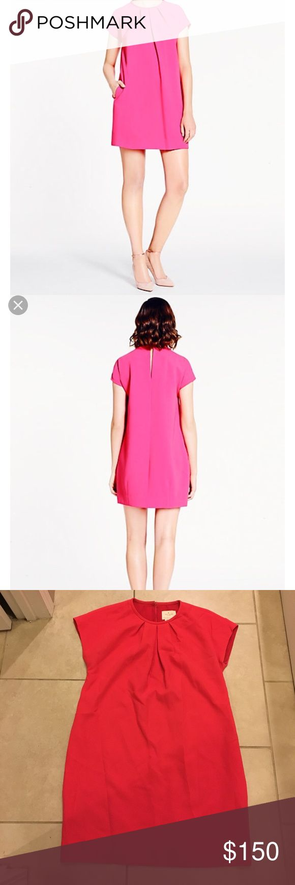 Kate Spade cap sleeve pink shift dress. Size 6 100% authentic Kate Spade New York cap sleeve, crepe, pink shift dress. Size 6. Very good condition. Deepened hot pink color. Purchased at Kate Spade store, Ala Moana mall, Honolulu.  NO TRADES.  Smoke free home. Open to reasonable offers. kate spade Dresses Midi
