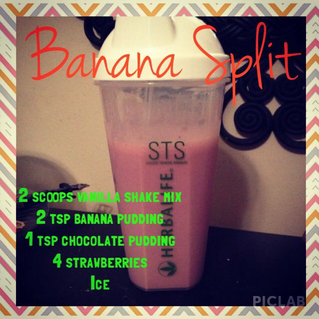 Banana split Herbalife shake. Place your Herbalife order today! Www.foherbalife.com/herbafam24