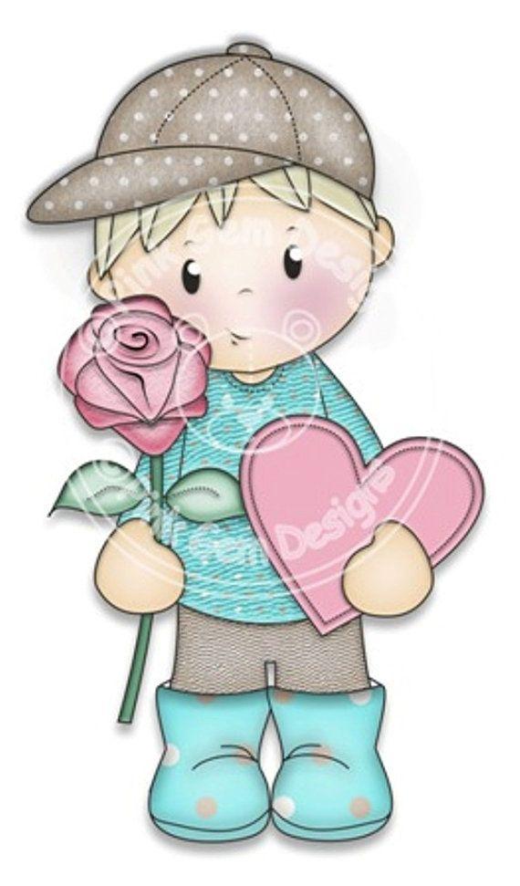 Digital Digi Josh with Rose Stamp Love Valentine por PinkGemDesigns