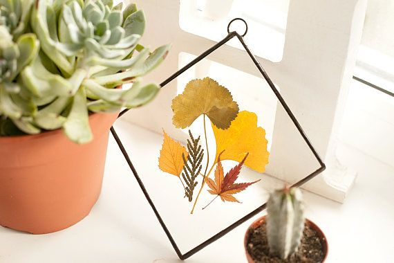 Scandinavian decor stained glass panels with autumn leaves