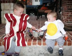Bacon and Eggs Costume. I'll be the bacon and Izzie will be the egg.