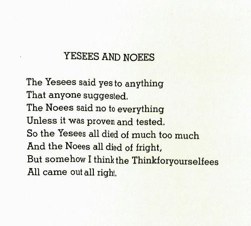 """Yesees and Noees"" Shel Silverstein"