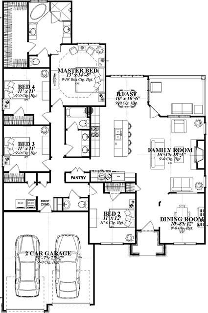 """would make bed 2 in to a study with french doors opening to the foyer and the """"dining room"""" would be a game room."""