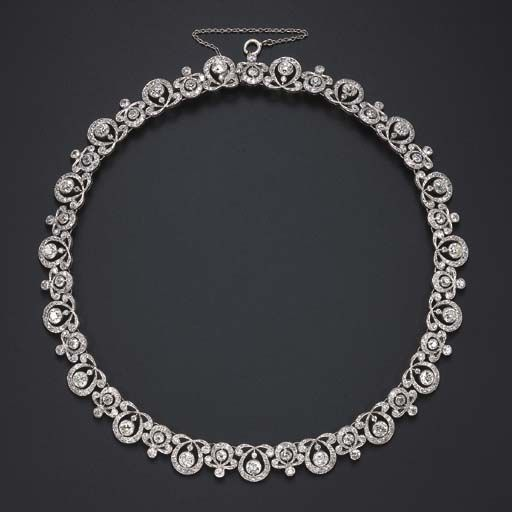 A DIAMOND NECKLACE Designed as a series of alterna…