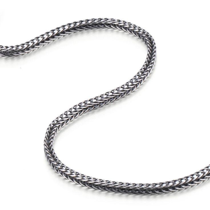 R&B Schmuck Herren Halskette Edelstahl - Kollektion Bad Ass - Serpent Stil 3D (4mm, Silber, Schwarz): 23,90€