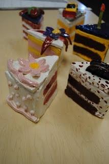 Ceramic slice of cake boxes based on Wayne Theibaud I'VE MADE THIS!!!!!!!!!!