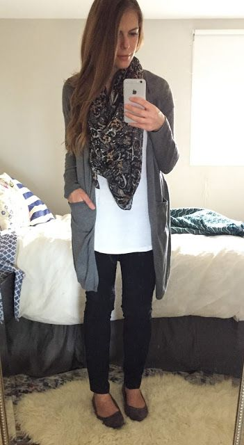 Open front cardigan, long tank, skinny pants, sueded pointy flats, and a fab fall scarf.