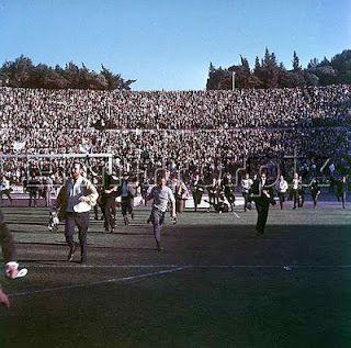 Lisbon 1967. Unconfined joy at the final whistle.