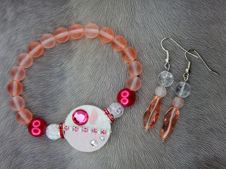 Bracelet and earrings, Swarovski, minerals, wedding, luxury