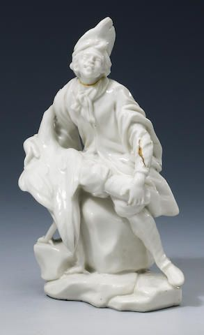 A Vienna white figure, c.1750, of a man with a swan, (head broken and incomplete, swan lacking head,