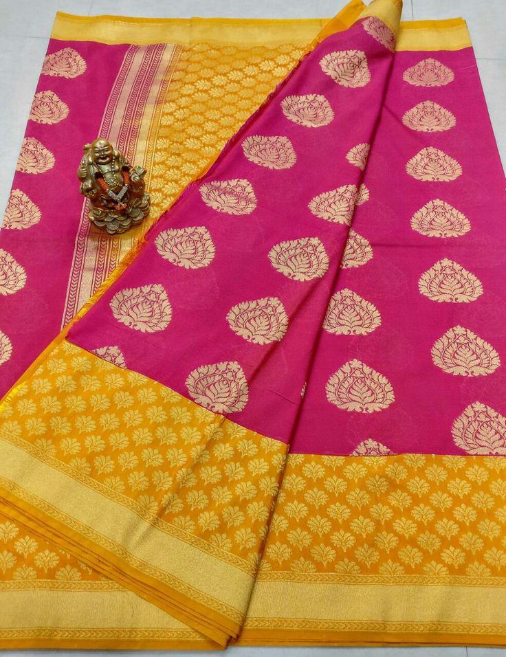 👆👆 Banars Georgette sarees with kanchi big  boders Alvor saree same design Pallu heavy Design contrast Plain blouse contact  👆💰3900+⛵ Order what's app 7093235052