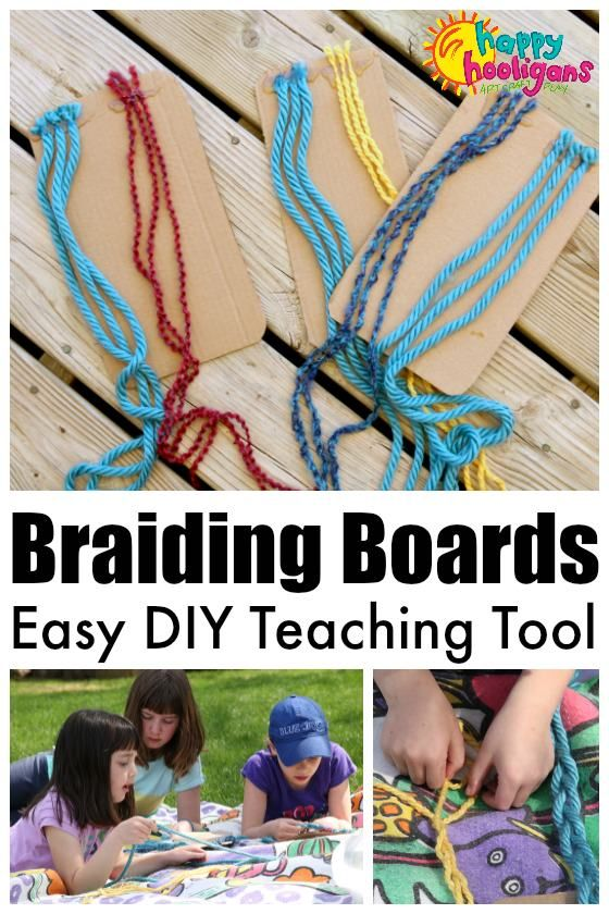 Homemade Braiding Boards - a activity to teach kids how to braid or how to practice their braiding skills.  Great activity to strengthen fine motor and hand-eye co-ordination skills! - Happy Hooligans