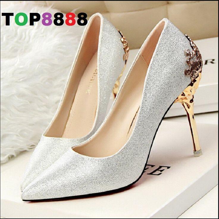 Coreano signora tacchi alti intaglio del fiore del metallo sottili pompe tacco alto  Sexy point cuoio dell'unità di elaborazione scarpe point toe scarpe da sera 2016 ML2727(China (Mainland))