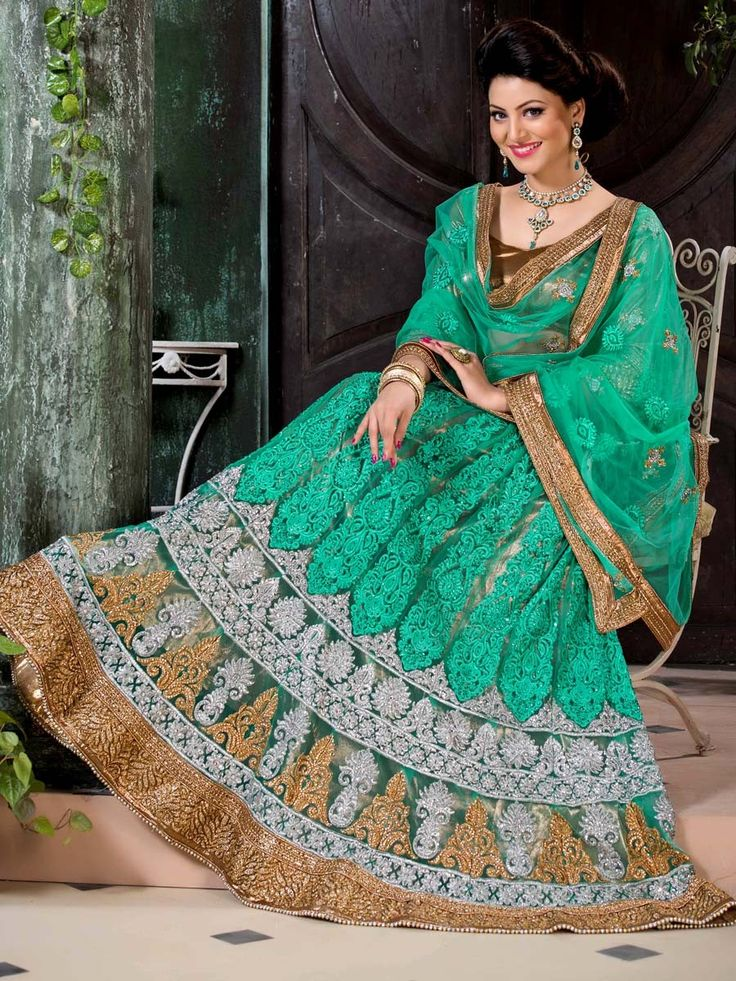 Exquisite sea green color net Lehenga. Item Code: GNAL7110 http://www.bharatplaza.com/new-arrivals/lehengas.html