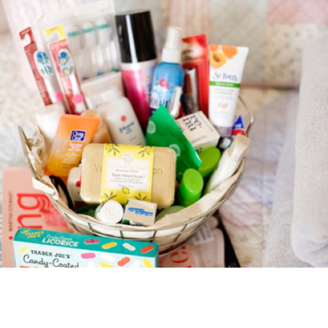 Guest Room Welcome Basket- I keep some of this stuff in my guest bathroom already but she mentions some things I didn't think of.