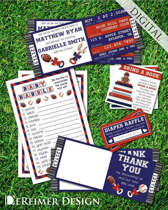 Sports Ticket Baby Boy Shower Invitation Bundle by DeReimer DeSign. Customized digital files for $25.