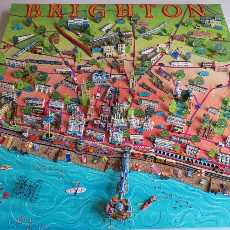 Sara Drake - Brighton Map - Mixed Media 75cm x 75cm www.saradrake.com