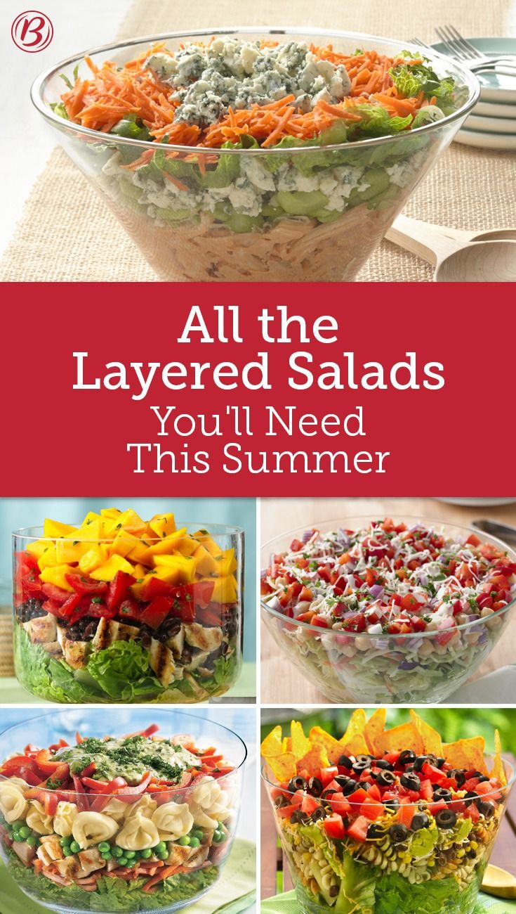Serve salads with a little more style than the usual. These layered wonders are eye-catching and mouthwatering at once! These stunning salads make a great addition to any dinner table!