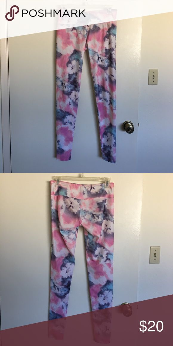 Onzie S/M pink and blue tie dye leggings Pink and blue tie dye pattern all over.  Full length leggings.  Gently worn Onzie Pants Leggings