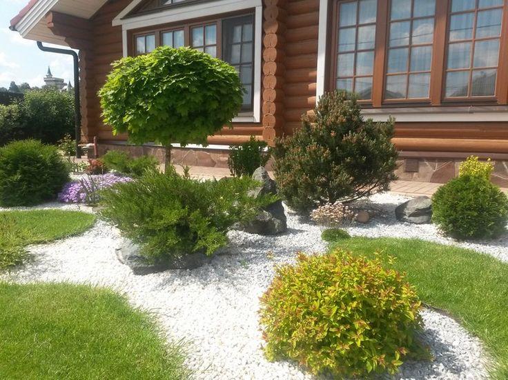 Simple steinbeet vorgarten weisser granitsplitt rasenflaeche