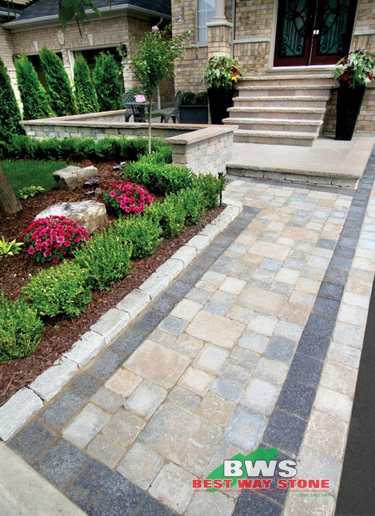 #outdoor #entrance: Best Way Stone > Paver: Strada Antico (Beige Mix) / Accent: Bellagio Antico (Ultra Black) / Wall: Antico Stacker (Beige Mix) available at our store at 3500 Mavis Rd, Mississauga, ON L5C 1T8