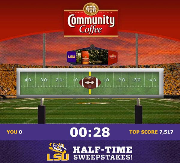 Community Coffee Half-Time Sweepstakes. Enter for a chance to win 2 LSU football tickets, LSU wear, gift sets and more!