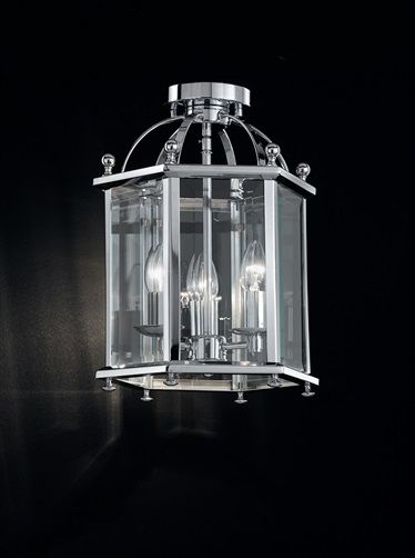 Madison 3 light Flush Lantern Chrome finish traditionally styled 3 light flush fitting lantern with bevelled glass panels