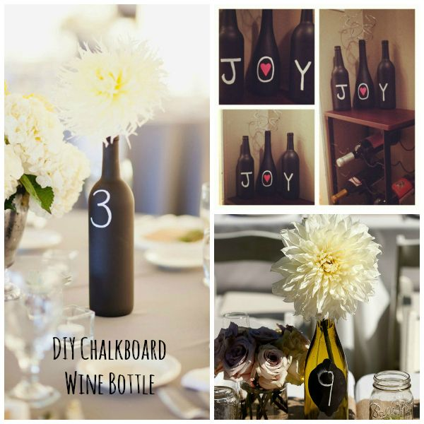 DIY Chalkboard Wine Bottles    Wedding Table numbers look no further. use old wine bottles + Chalkboard paint spray. Wait a couple hours and write away!    #wedding #diy #shabby #rusticwedding #diybride
