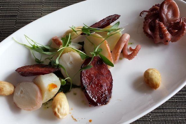 Post image for Sous Vide Octopus, Chorizo, Fingerling Potatoes, Green Almonds & Salsa Verde Recipe