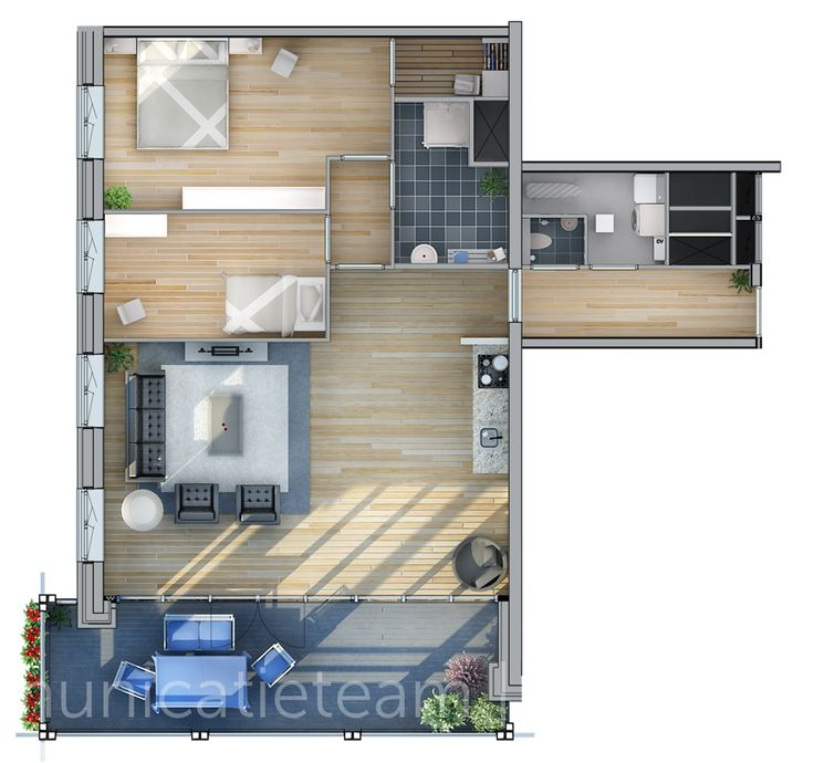 3D plattegrond - Synchroon - Binnenhaven