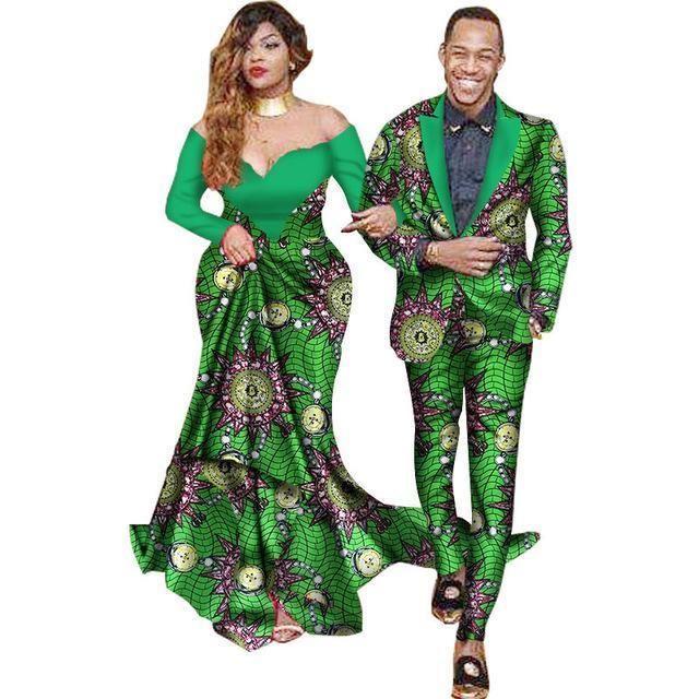 African Suits Men Women Suits Dashiki Kitenge Couple Suits