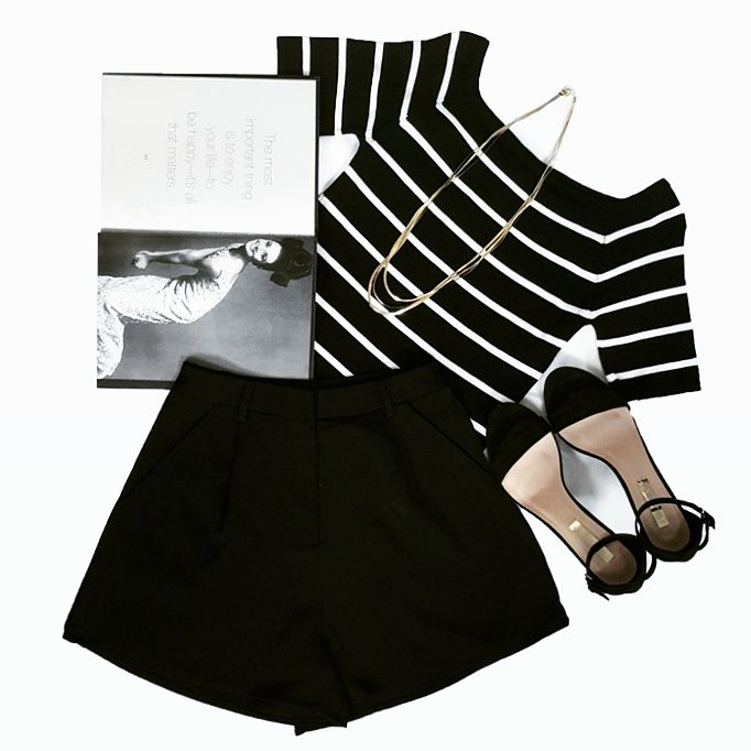 Black and White | Virpi A-line Shorts, Cora Heels and Rosa Stripes Top | Scandinavian Style in Clothing