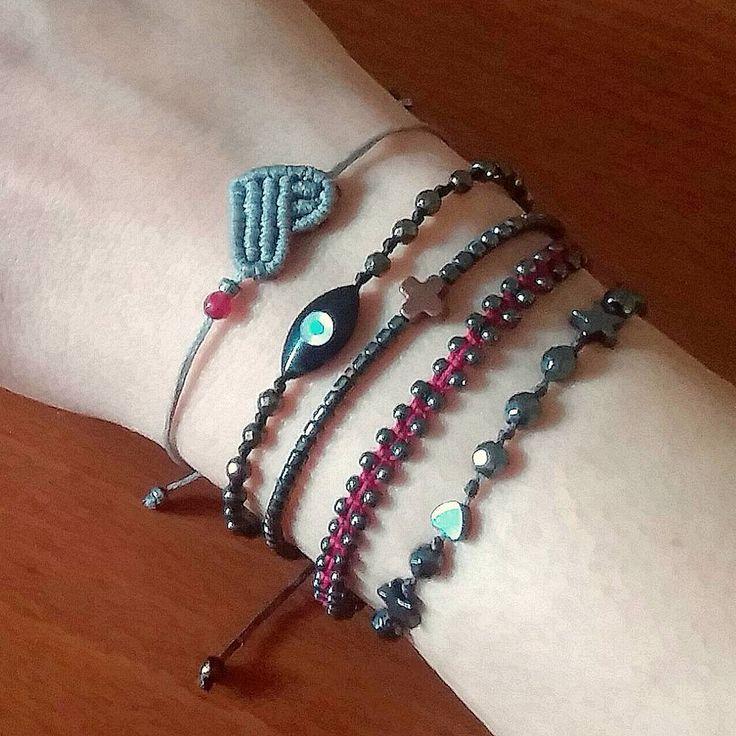 New year... new beginnings... new ideas! #macrame #macramejewelry #handmade #handbraided #greekdesigners #mast_stamopouloumaria #heart #evileye #cross #hematite #agate #semiprecious #newyear #newin #instajewelry #instadaily #accessories #armparty #armcandy #winter16 #esopou #jamjar_gr #onlineshop