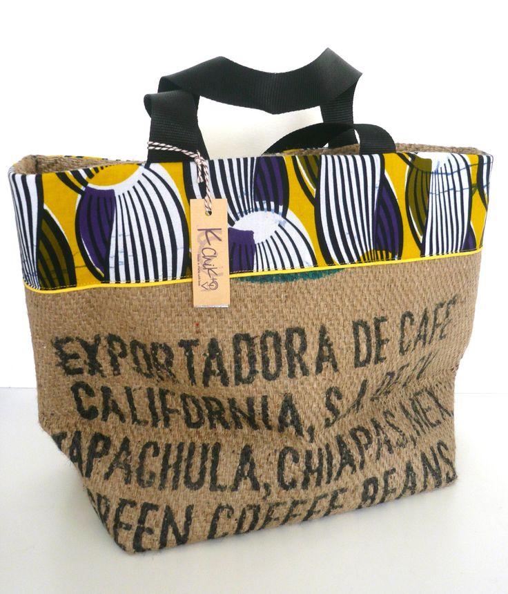 grand cabas en sac de café recyclé, wax noire et jaune, passepoil jaune : Sacs à main par k-chik