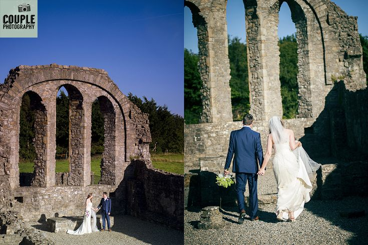 The couple at the ruins near Knightsbrook hotel. Beautiful blue skies for their wedding day! Weddings at The Knightsbrook Hotel Photographed by Couple Photography.