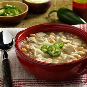 Turkey White Chili Recipe -Growing up in a Pennsylvania Dutch area, I was surrounded by excellent cooks and wonderful foods. I enjoy experimenting with new recipes, like this change-of-pace chili. —Kaye Whiteman, Charleston, West Virginia