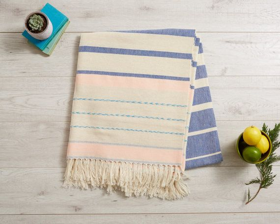 Mexican Blanket, Large Mexican Tablecloth, Large Picnic Towel, Beach Blanket . Sofa Throw, Bedspread . Pantone Blue, Cream and Rose . Serape