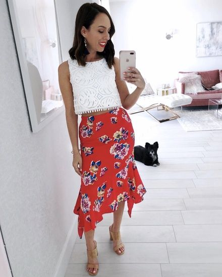 fccfed25cfa Red floral skirt and a crop top for vacay style #ShopStyle #shopthelook  #SummerStyle #MyShopStyle #TravelOutfit #OOTD