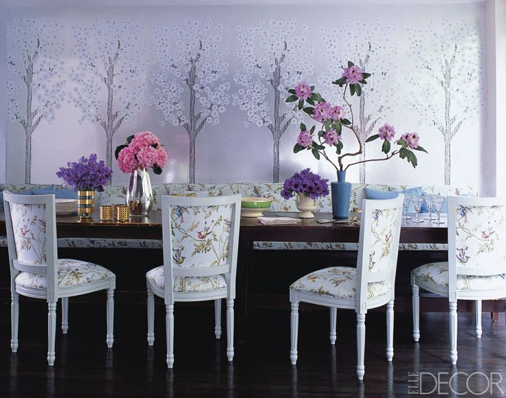 With the help of Josh Minnie of Flavor Paper, fashion designer Cynthia Rowley created a wallpaper of stylized cherry blossom trees to cover the walls of her dining room in Manhattan's West Village. The print brings a fantastical element to the already glamorous space. Tour the rest of the home.