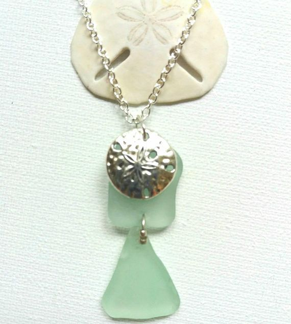 Sand Dollar Necklace Sea Glass Necklace Beach Glass Necklace