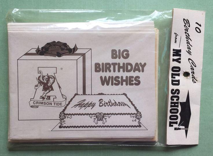 Vtg 1980s Alabama College Football Birthday Greeting Cards Pack Of 10 Roll Tide #MyOldSchool #AlabamaCrimsonTide