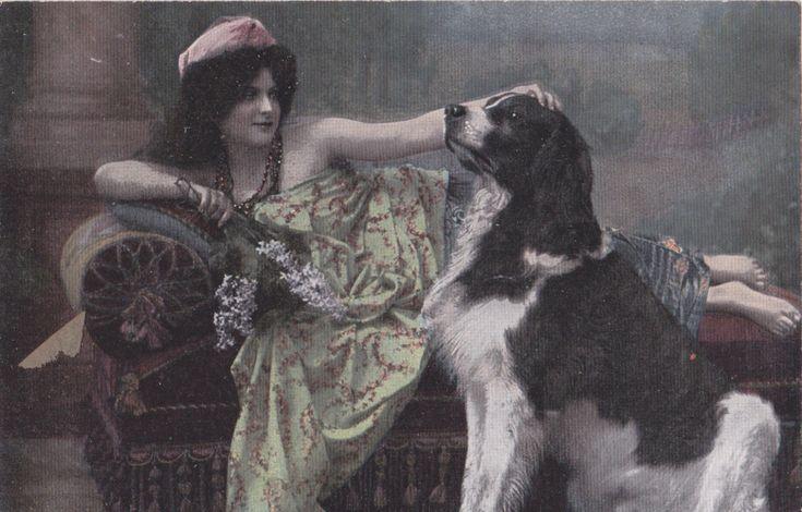 6 Vintage German Postcards K. V. L. B. 12 Serie 1230 Dog and Smoking Lady Funny! | eBay
