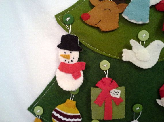 Felt Ornament Advent Calendar by raindropstops on Etsy