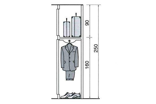 Prévoir un rangement au dessus des vêtements dans un placard ou dressing