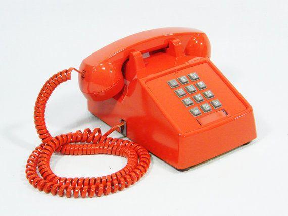 Vintage telephone tangerine orange push button phone by ohiopicker, $58.00