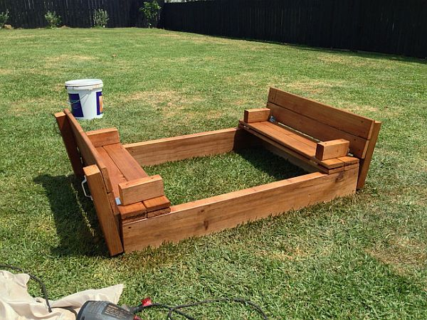 awesome diy sandbox design with cool bench seating