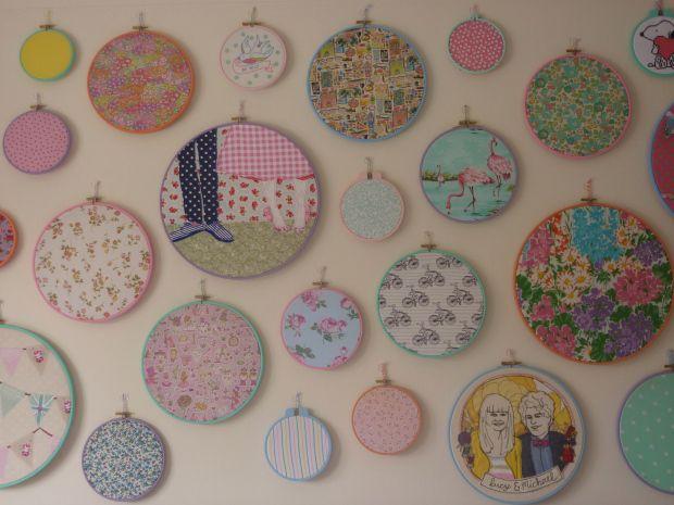 Embroidery hoop art wall