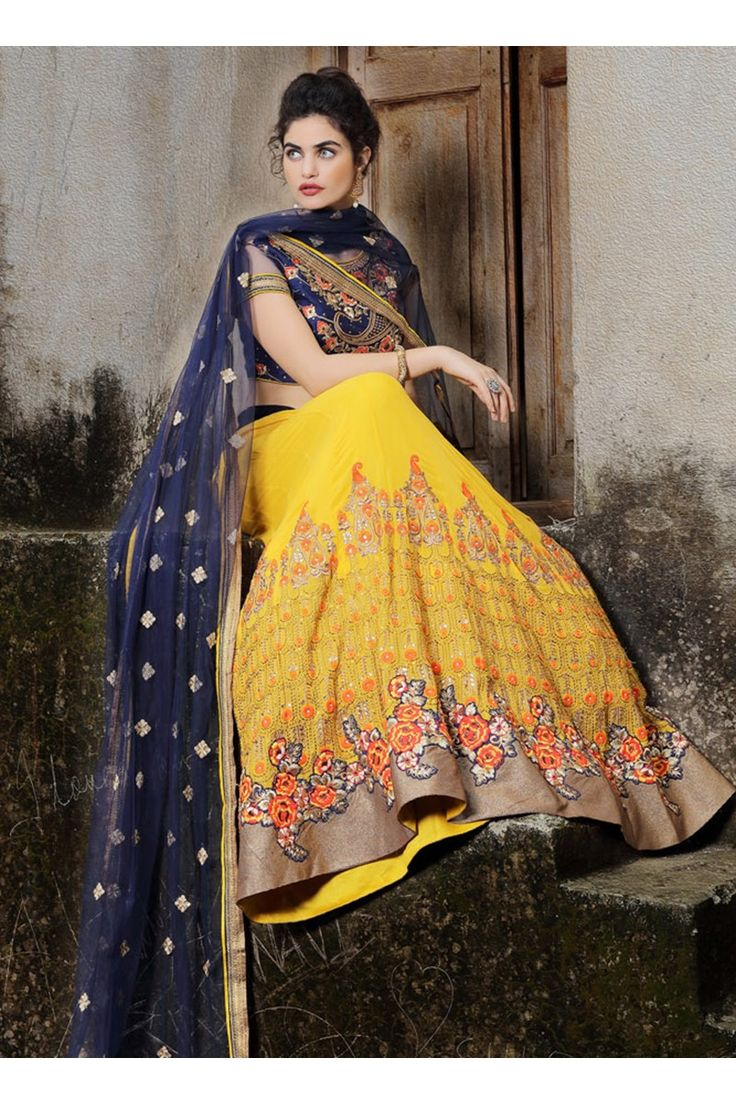 Salwar Web Yellow Georgette Wedding Wear Multi Thread Embroidery Work Lehenga Choli