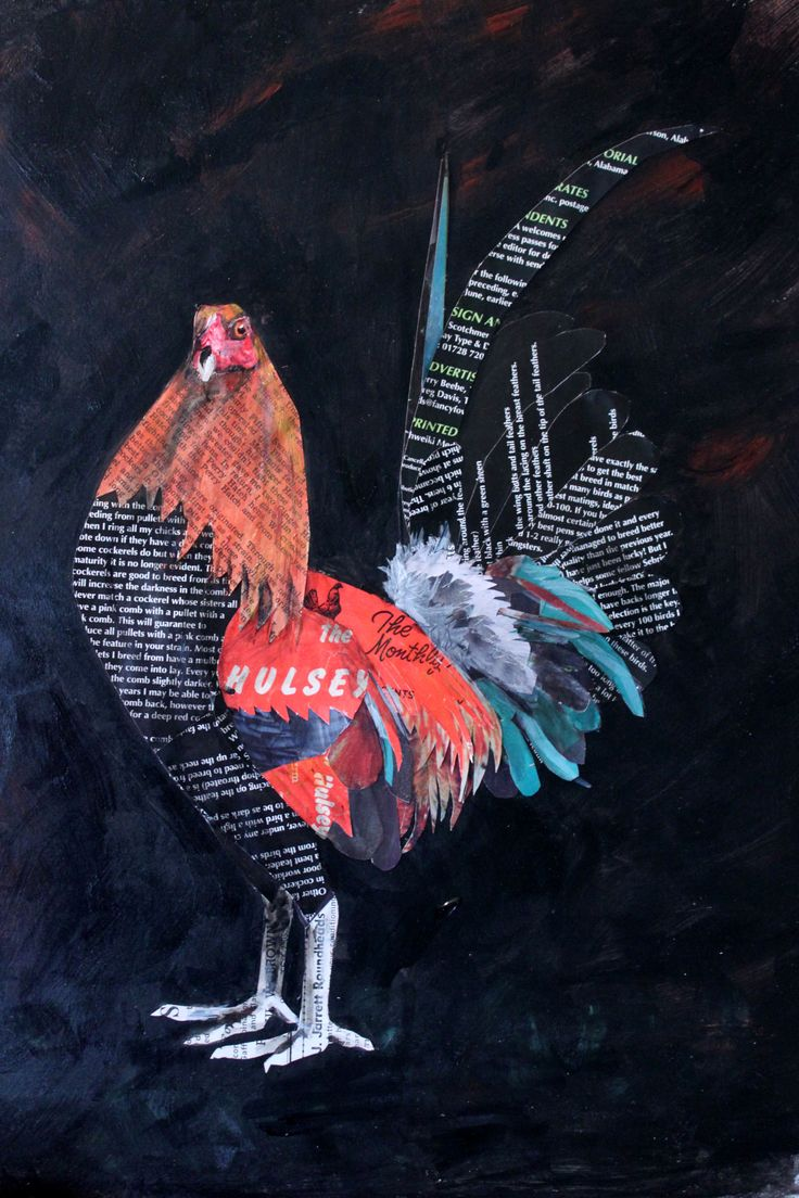 Paper collage rooster made from Gamefowl magazines.