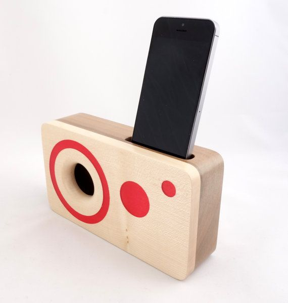 Handmade walnut wood iPhone acoustic speaker box, great as a gift